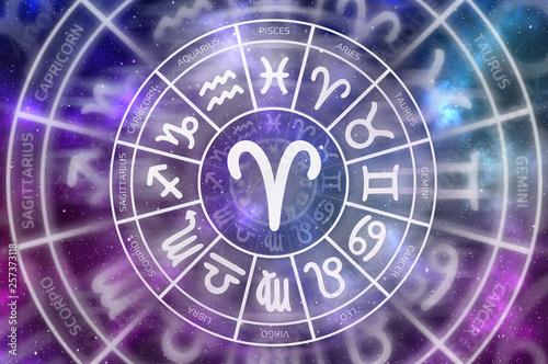 Photo Zodiac Aries symbol inside of horoscope circle