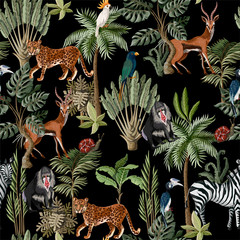 Fototapeta Malarstwo Seamless pattern with exotic trees and animals. Interior vintage wallpaper.