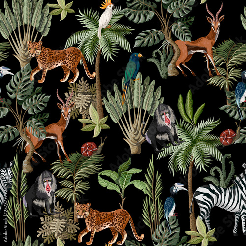 obraz lub plakat Seamless pattern with exotic trees and animals. Interior vintage wallpaper.