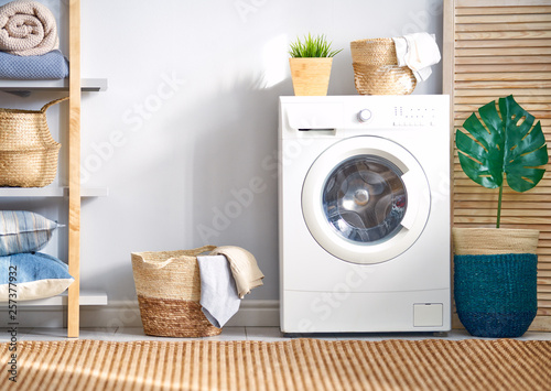 laundry room with a washing machine Fototapeta