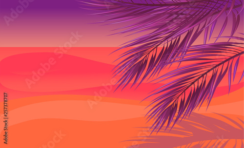 Poster Corail Tropical summer sunset vacation background. Hello summer! Palm leaves on the beach with the ocean, sunset.