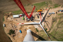Assembled Rotor Blades Of A Wind Turbine Are Seen From High Above