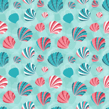 Starfish And Seashells Pattern In Vintage Colors. Ocean Life Aquatic Seamless Background With Pearl Sea Shells, Mollusks And Clams For Fabric And Wrapping Paper.