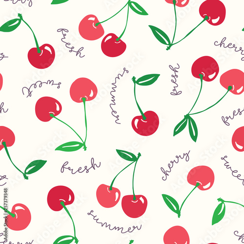 Cuadros en Lienzo Whimsical hand-drawn red cherries and words vector seamless pattern background