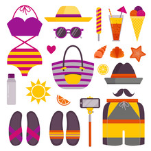 Beach Stuff And Accessories Icon Set. Summer Holidays Sea Recreation Sunbathing Elements With Bathing Suit, Flip Flops, Shorts, Beach Bag, Hat, Selfie Stick, Cocktail, Ice-cream, Shells And Starfish.