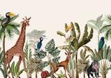Bezproblemowa granica z tropikalnym drzewem, takim jak palma, banan i zwierzęta w dżungli. Wektor. - 257381341