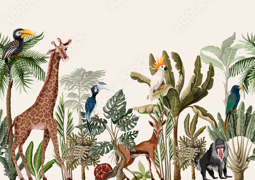 Papiers peints Artificiel Seamless border with tropical tree such as palm, banana and jungle animals. Vector.