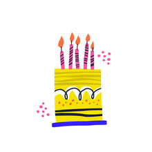Birthday Cake Vector Handdrawn Illustration