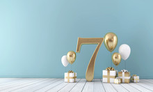 Number 7 Party Celebration Room With Gold And White Balloons And Gift Boxes.