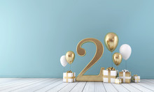 Number 2 Party Celebration Room With Gold And White Balloons And Presents.