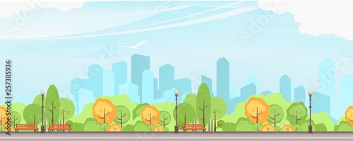 Autocollant pour porte Bleu clair city park vector