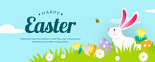 Happy Easter Banner Vector Illustration, White Bunny With Spring Meadow Background.