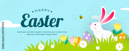 Photo Happy Easter Banner Vector illustration, White bunny with spring meadow background