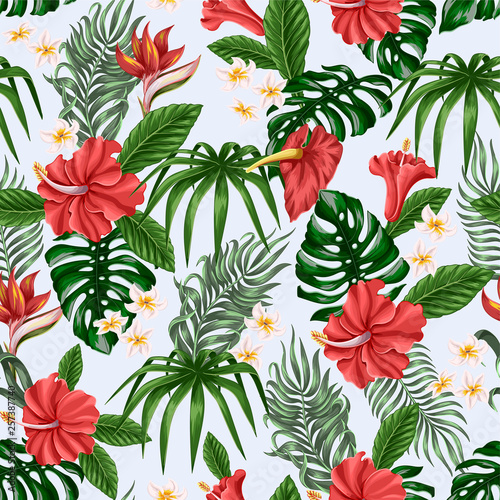 Seamless pattern with Tropical flowers and leaves such as banana, palm, monstera leaf and narcissus, hibiscus, plumeria.