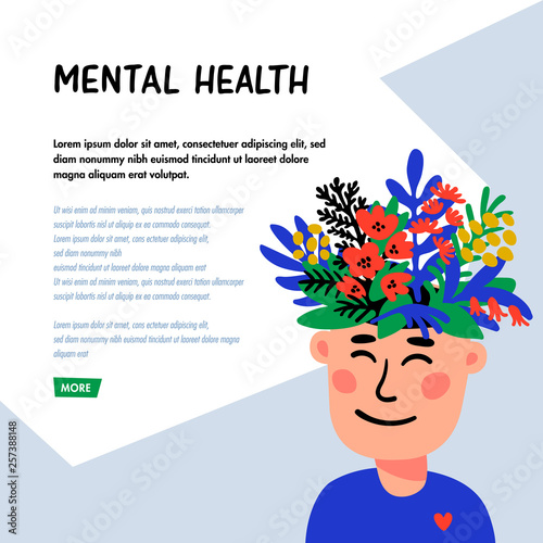 Psychology. Mental health. Man character with flower head