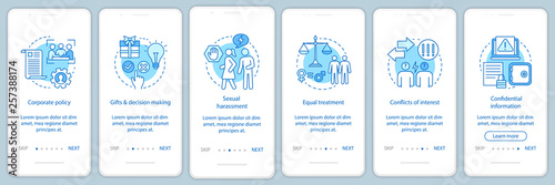 Business ethics onboarding mobile app page screen vector template Fototapet
