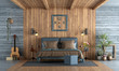 canvas print picture Master bedroom in rustic style