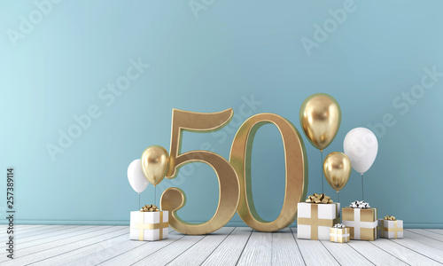 Photo  Number 50 party celebration room with gold and white balloons and gift boxes