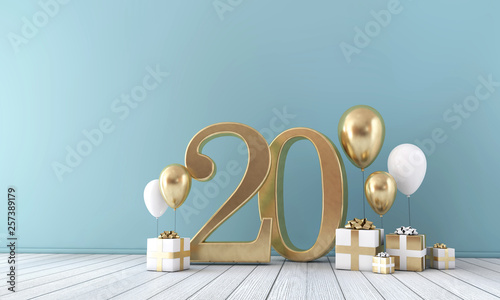 Fotografía  Number 20 party celebration room with gold and white balloons and gift boxes