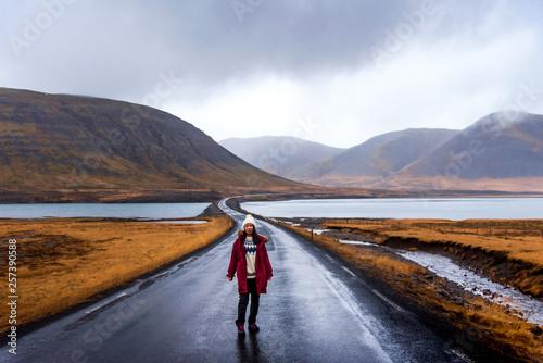 Fototapeta Traveler on Icelandic road in Snaefellsnes peninsula of Iceland