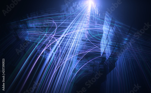 Fotografie, Obraz  Datenverkehr | Ströme in komplexem Netzwerk - Version 1