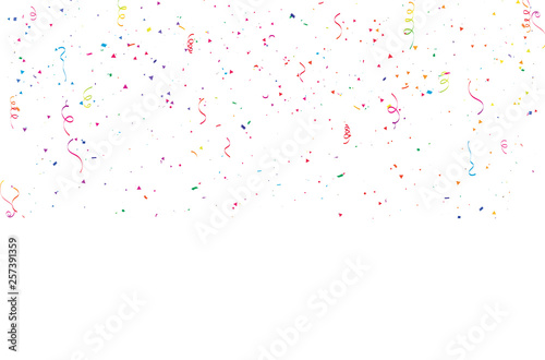 Obraz Celebration background template with confetti Colorful ribbons frame. luxury greeting rich card. - fototapety do salonu