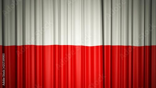 Fototapety Polska poland-flag-silk-curtain-on-stage-3d-illustration