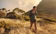 Female hiking alone in nature