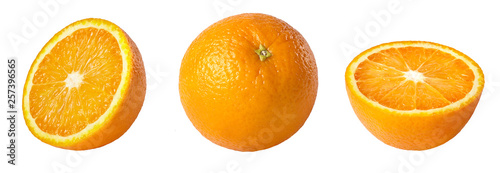 Obraz Whole and sliced orange isolated on white background. Collection. - fototapety do salonu