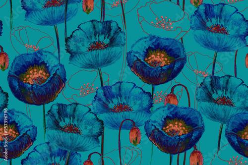 Fotografie, Obraz Art poppy seamless pattern.