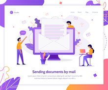 Sending Documents By Mail. Creative Landing Page Design Template. Business Concept. Flat Vector Illustration.