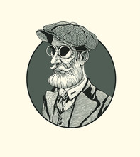 Bearded Man In A Cap And Round Glasses. Retro Emblem. Vector Illustration.