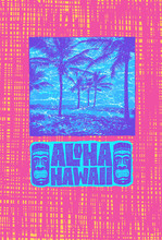 Aloha Hawaii. Hand Lettering With Tiki Mask And Tropical Landscape With Palms Trees. Vector Illustration.