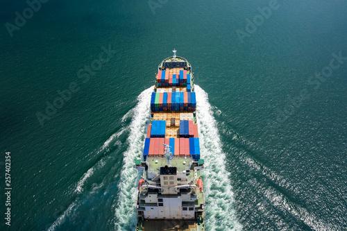 cargo containers logistics business transportation by ship flight open sea servi Canvas-taulu