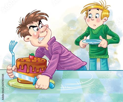 Fotografia, Obraz greedy cartoon boy not wanting to share his cake