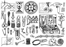 Tools For Hobby. Sewing Elements Or Materials For Knitting And Needlework. Set Of Handmade Equipment. Female Work. Tailor Shop For Badges. Engraved Hand Drawn Realistic In Old Vintage Sketch.