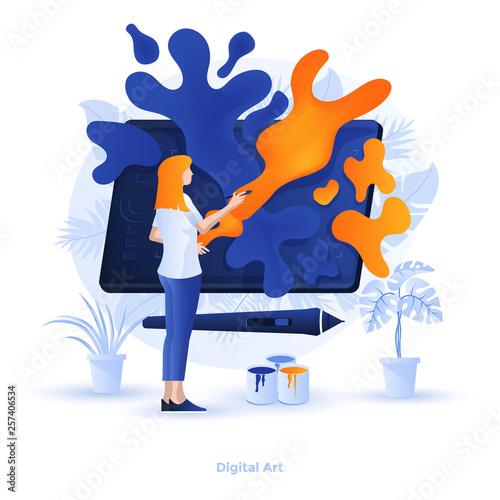 Flat color Modern Illustration design - Digital Art