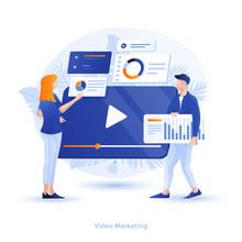 Flat Color Modern Illustration Design - Video Marketing