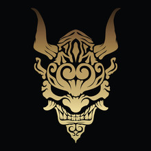 Golden Oni Demon With Beautiful Patterns And Horns On His Head