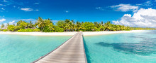 Beautiful Maldives Beach, Wooden Jetty. Tropical Landscape Background, Palm Trees, White Sand, Blue Sea And Soft Waves. Tranquil Summer Travel Destination. Perfect Beach Vacation And Holiday Banner