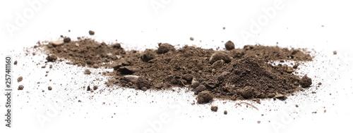 Obraz na płótnie Dirt, soil isolated on white background