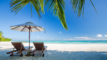 Perfect Island Beach, Luxury Resort Or Hotel Scenery, Wonderful Sea View And Palm Leaf. Tropical Landscape For Luxurious Travel And Vacation Holiday Background