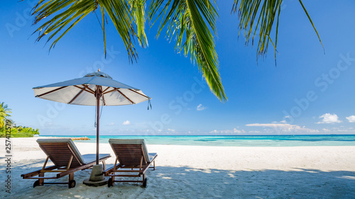 Fototapeta Perfect island beach, luxury resort or hotel scenery, wonderful sea view and palm leaf. Tropical landscape for luxurious travel and vacation holiday background obraz
