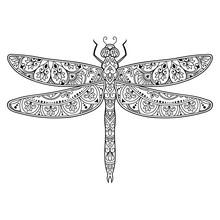 Dragonfly Decorated With Indian Ethnic Floral Vintage Pattern. Hand Drawn Decorative Insect In Doodle Style. Stylized Mehndi Ornament For Tattoo, Print, Cover, Book And Coloring Page.
