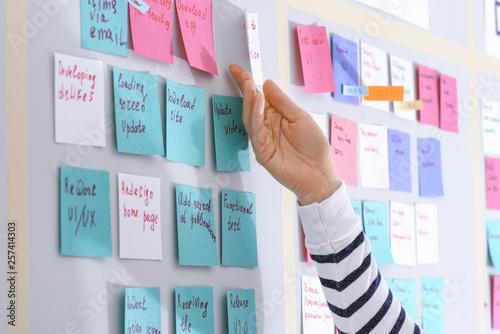 Carta da parati  Young woman near scrum task board in office