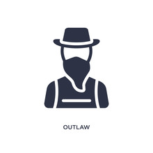 Outlaw Icon On White Background. Simple Element Illustration From Desert Concept.