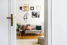 Gallery Of Poster On White Wall Of Stylish Living Room Interior With Grey Couch And Pillows