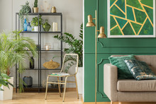 Gold Tropical Living Room Inte...