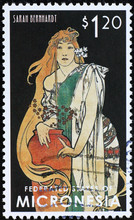 Actress Sarah Benhardt By Alphonse Mucha On Postage Stamp