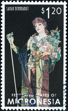 Sarah Benhardt Designed By Alphonse Mucha On Stamp Of Micronesia
